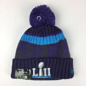 New Era Super Bowl LII 50 Purple Pom Winter Cap